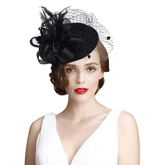 a96a41304 VBIGER Fascinator Hats Wedding Hats Pillbox Hat Wool Felt Hat Bow ...