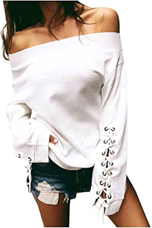 Bravetoshop Womens Solid Off Shoulder Shirt Long Sleeve Tether Shirt Velvet Tunic Blouses Tops