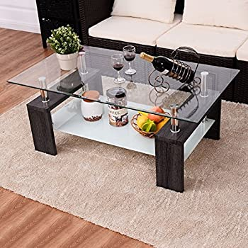 appealing black glass coffee table living room | Amazon.com: Costway Black Rectangular Tempered Glass ...