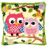 Arts & Crafts : 13 Model Latch Hook Kits for DIY Throw Pillow Cover Sofa Cushion Cover Owl/Dog/Cat/Bear/Bird with Pattern Printed 16X16 inch BZ644