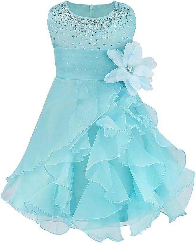 TiaoBug Baby M/ädchen Kleid Prinzessin Hochzeit Taufkleid Blumenm/ädchen Festlich Kleid Kleinkind Festzug Kleidung