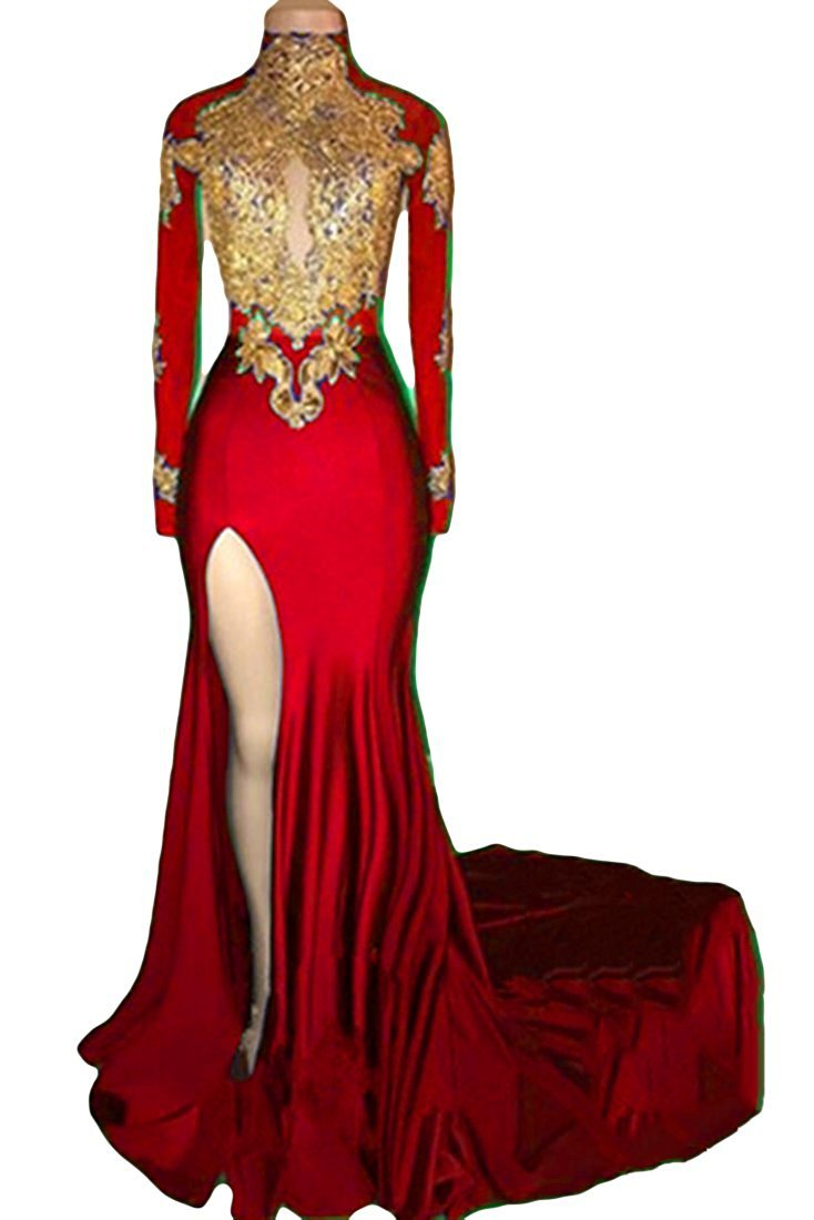 inmagicdress 2018 Women Mermaid Prom Dress High Neck Long Sleeves Gold Appliques Evening Ball Gowns IMG241