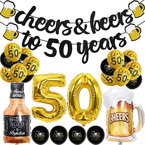 50 Year Anniversary Decorations - Cheers & Beers