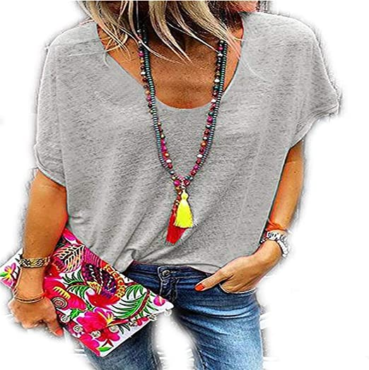 Nuevo Ebay Summer Candy Color Cuello en V Camiseta de Manga ...