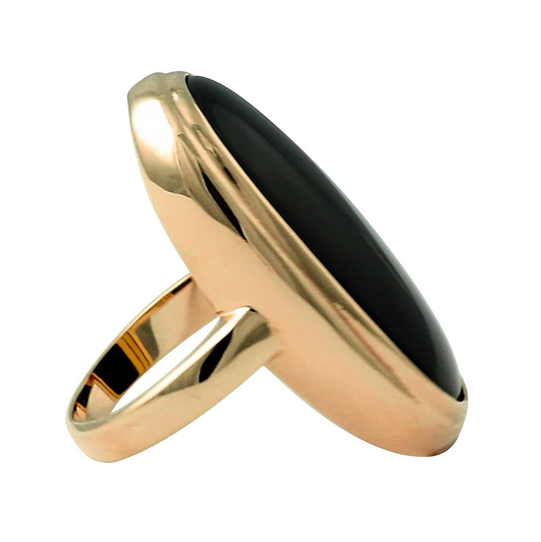 18K Yellow Gold Plated Oval Cut Natural Black Onyx Bezel Set Ring