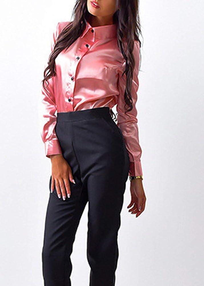 Camisas De Verano Camisa De Manga Larga Camisas para Solapa con Vintage Mujer De Blusa con Botones Camisas De Color Sólido Liso Blusas (Color : Rosa, Size : S): Amazon.es: Ropa y