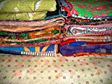 10 Pieces Mix Lot of Indian Tribal Kantha Quilts Vintage Cotton Bed Cover Throw Old Sari Made Assorted Patches Made Rally Whole Sale Blanket by Colors Of India