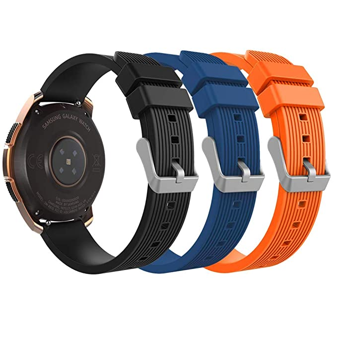 Sibode Band Compatible Samsung Galaxy Watch 42mm,20mm Width Soft Silicone Replacement Bands Sport Strap Fit Samsung Gear Sport/Garmin Vivomove ...