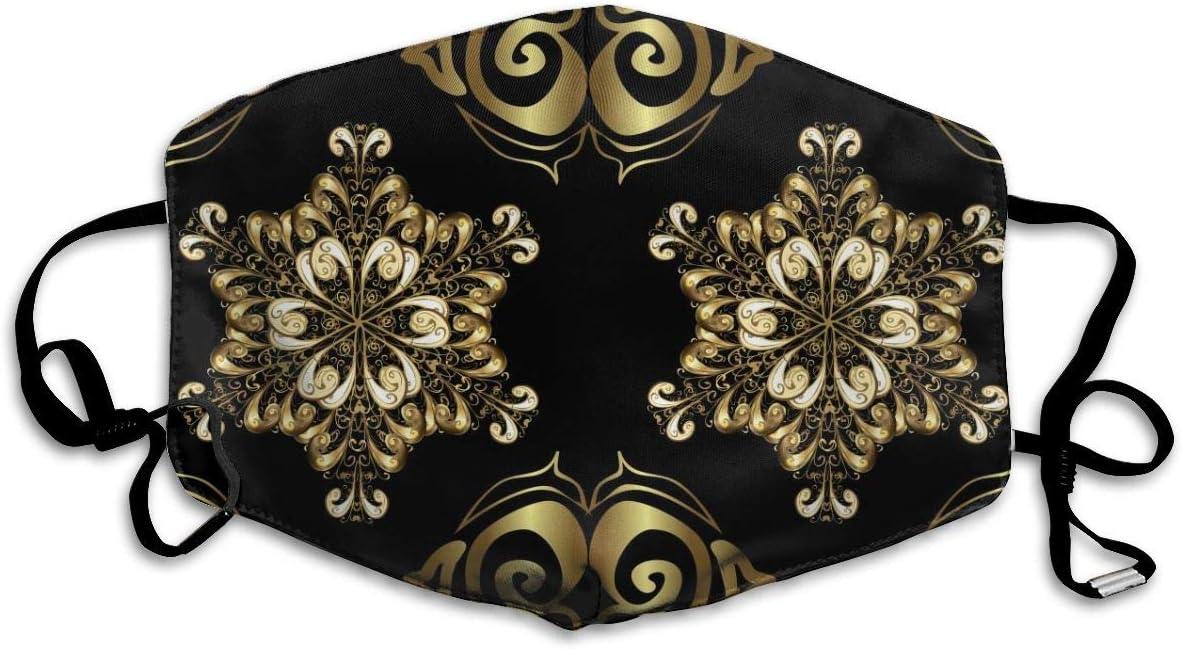 Houity Máscara Lavable a Prueba de Polvo, Tela árabesca de Estilo Antiguo, para decoración y diseño, Suave, Transpirable, Lavable, con botón Ajustable, Apto para mascarillas de Hombre y Mujer