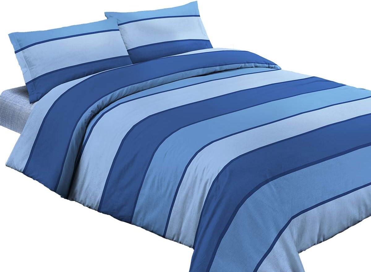 Blu Trapuntino Estivo Mezza Stagione Copriletto Trapuntato Righe Colorate- 100/% Made in Italy Letto Misura Francese Tipo Ikea R.P