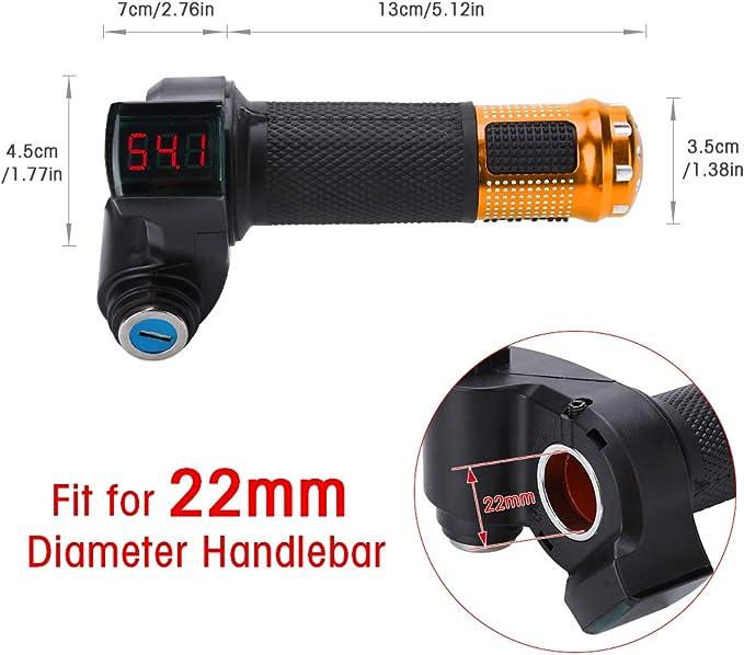 Elektrofahrrad Gasgriff Elektro Scooter Batteriespannung Mit Led Anzeige Und Power Key Locker Accelerator Farbe Golden Sport Freizeit