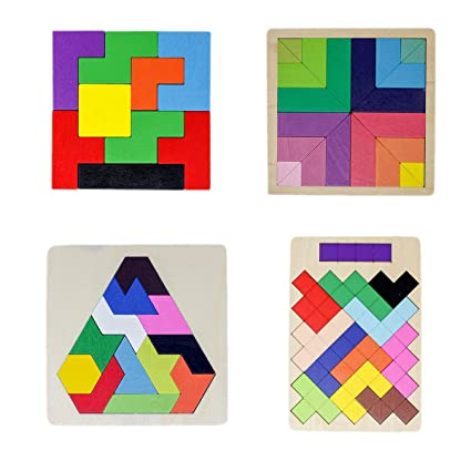 Tootpado Wooden Tetris Jigsaw Puzzle Non-Toxic Learning and Educational Toys for Kids (Pack of 4)