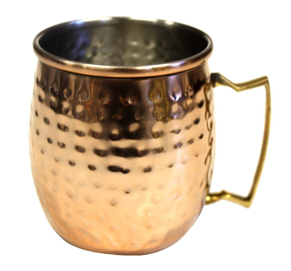 4.125 X 5.25 X 3.5 4.125 X 5.25 X 3.5 ZUCCOR ZMMS Stainless Steel Moscow Mule Mug W//Hammered Copper Exterior