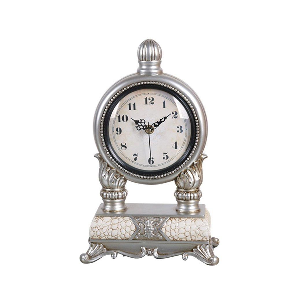 ZAZAZA Health UK Clock- Clock Classical 10-Inch Silver Gray Resin Antique Desktop Clock Mute Sitting Bell With Arabic Numerals Welcome