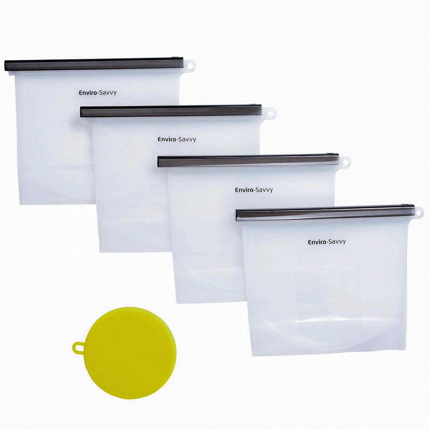 Enviro-Savvy Silicone Storage Bags Reusable with Easy Sealing Bar - Microwavable- Leakproof - Boil Safe - Freezer Safe - Dishwasher Safe - 4 Clear Quart Size Food Storage Bags and 1 Scrubbing Pad