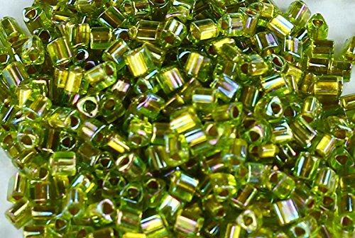 11/0 Triangle TOHO Japanese Glass Seed Beads #996-Gold-Lined Rainbow Peridot 15g