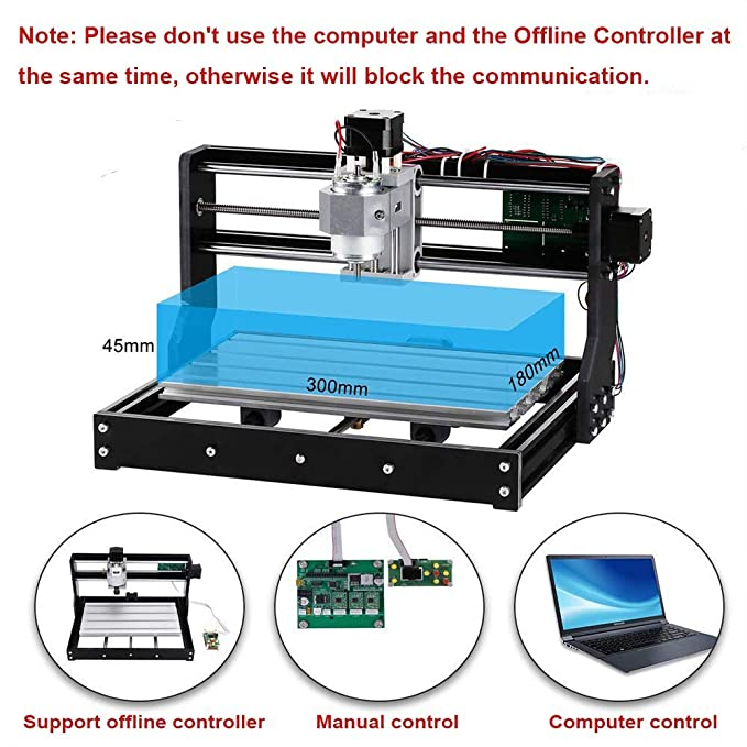 CNC 3018 Pro GRBL Control DIY Mini CNC Machine, 3 Axis PCB Milling Machine,  Wood Router Engraver with Offline Controller, with ER11 and 5mm Extension