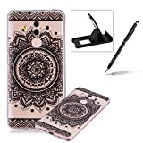 Rubber Case for Huawei Mate 10 Pro,Herzzer Premium Stylish [Black Mandala Printed] Scratch Resistant Ultra Thin Soft Gel Silicone Transparent Clear Crystal Slim Fit TPU Back Cover for Huawei Mate 10 Pro