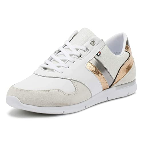 Tommy Hilfiger Mujer Blanco/Rose Dorado Cuero Light Zapatillas-UK 7: Amazon.es: Zapatos y complementos