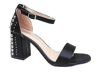 Escarpins Fashionfolie Talon Cloutée Bout Sandale Ouvert Femme Bloc SVpMqUz