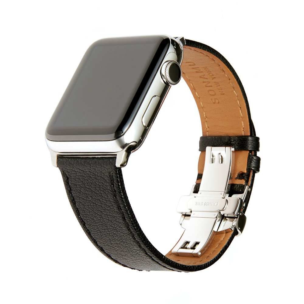 SONAMU New York French Bijou Premium Leather Strap Compatible with Apple Watch Band 42mm / 44mm, Stainless Steel Clasp, Black
