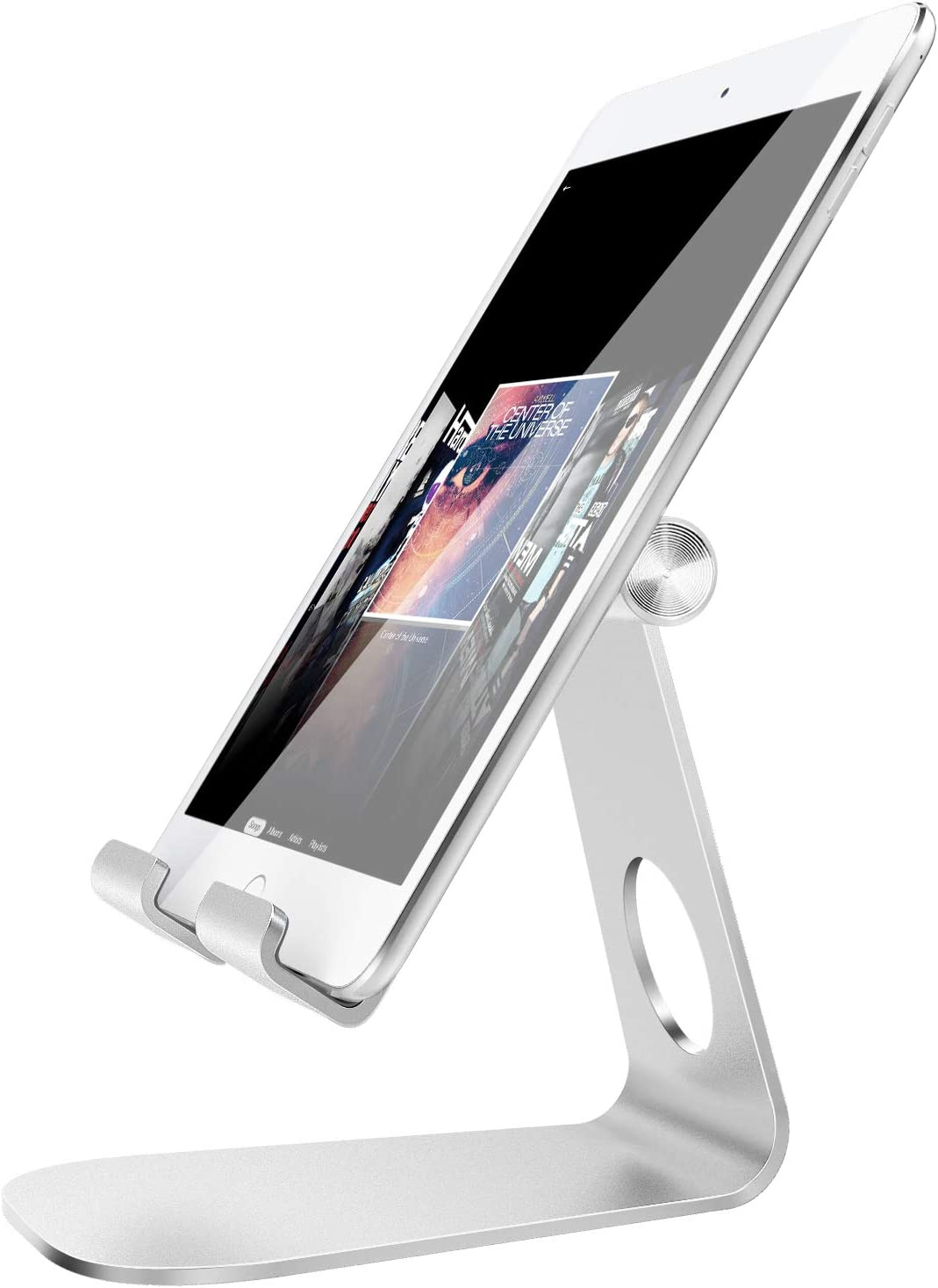 """MoKo Tablet Stand, 210 Degree Multi-Angle Rotatable Phone Desktop Holder Fit iPhone 11 Pro Max/11 Pro/11, iPhone Xs/XS Max/XR/X, iPhone SE 2020, iPad Pro 11 2020/Air 3/Mini 5, Galaxy S20 6.2"""", Silver"""
