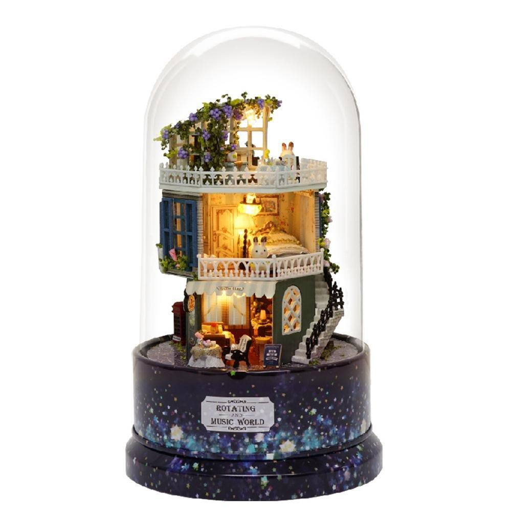 Kit de maison de poupée miniature en bois avec lumière LED - Modèle Ice Park et Snow Park avec poupées/Etui en plastique/Boîte à musique Eruditter