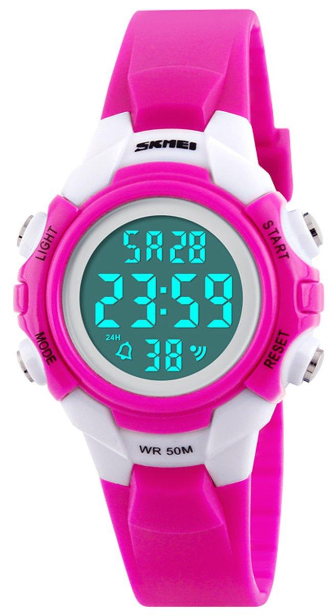 Mastop Mastop Fashion Children Outdoor Sport Watches LED Digital Boy Girls Waterproof Chronograph Watch (Rose Red)