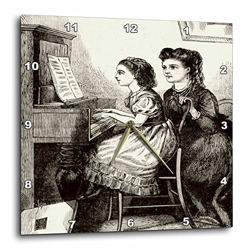 3dRose DPP_47913_1 Black N White Victorian Piano Lessons Wall Clock, 10 by 10