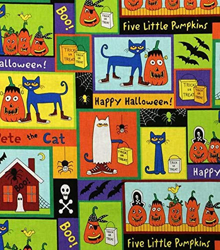 Pete The Cat Halloween Fabric Five Little Pumpkins by The Yard