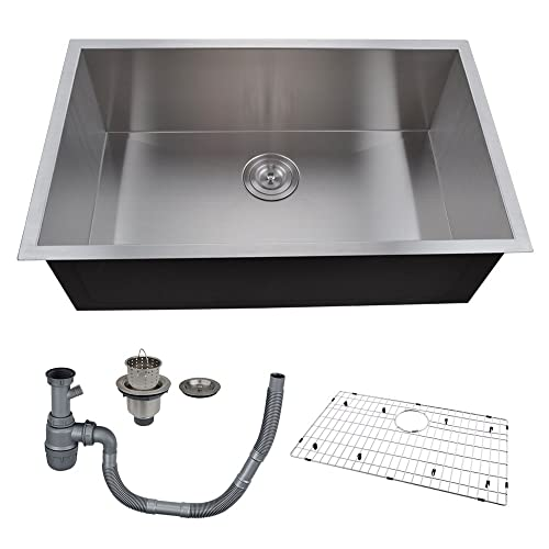 KES 30 Inch Kitchen Sink Stainless Steel Single Bowl Undermount Deep 16  Gauge Zero Radius