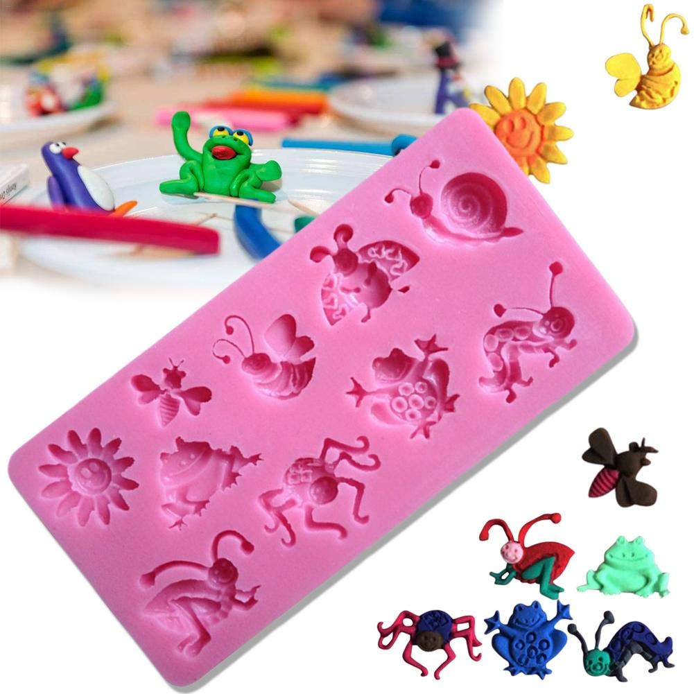 New-look Silicone Mold 3D Insect Silicone Mold Frog bee Snail Spider Mold Cake Decoration Tool
