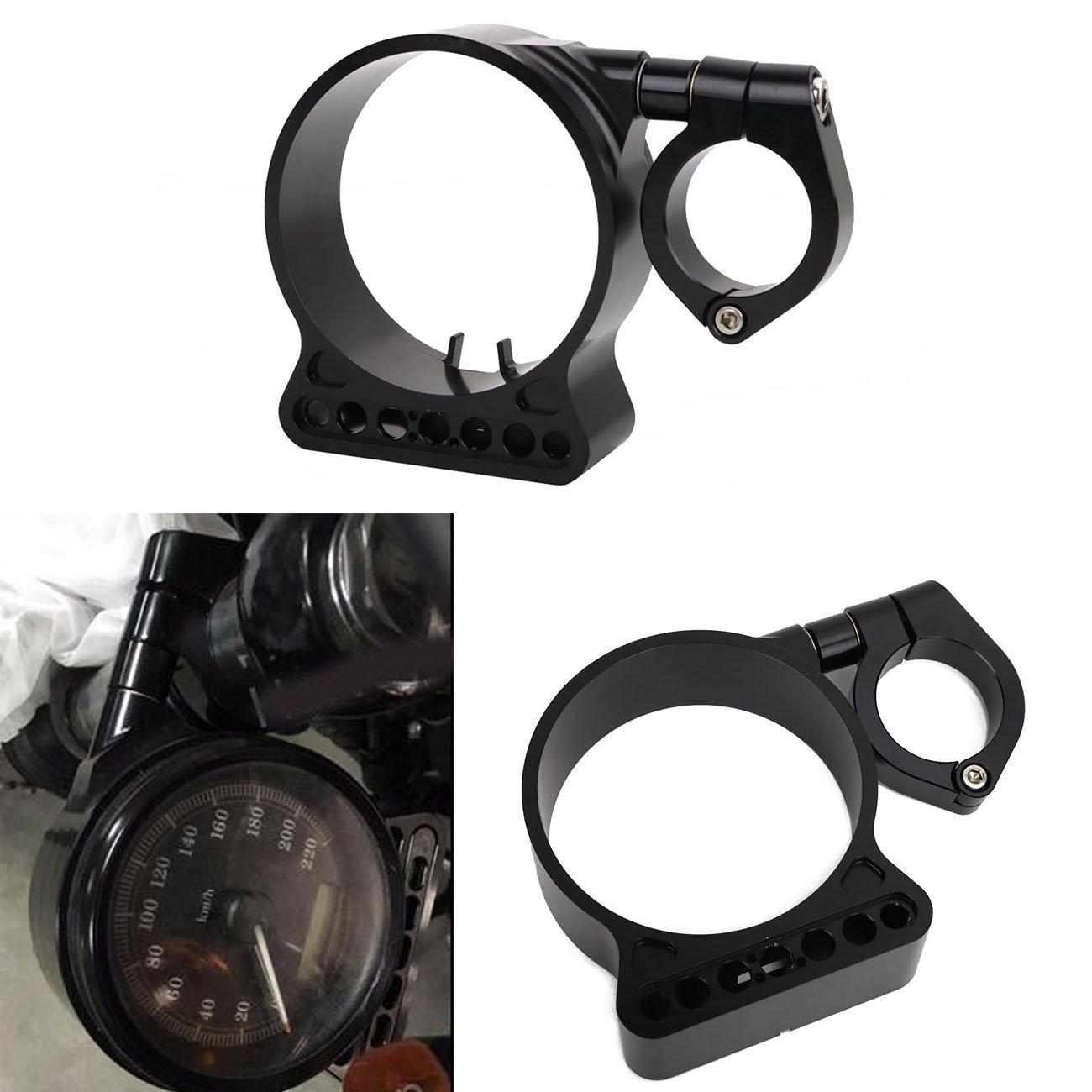 39mm CNC Speedometer Relocation Bracket mount for Harley Sportster XL 883 1200 C N L R 48 (Black)