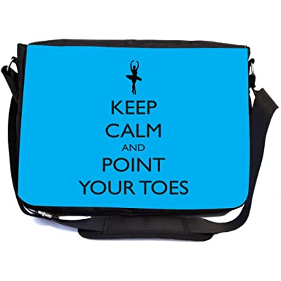 e89d6d43e0 Rikki Knight Keep Calm and Point your Toes Sky Blue Ballet Design  Multifunctional Messenger Bag - School Bag - Laptop Bag - with padded  insert for School or ...