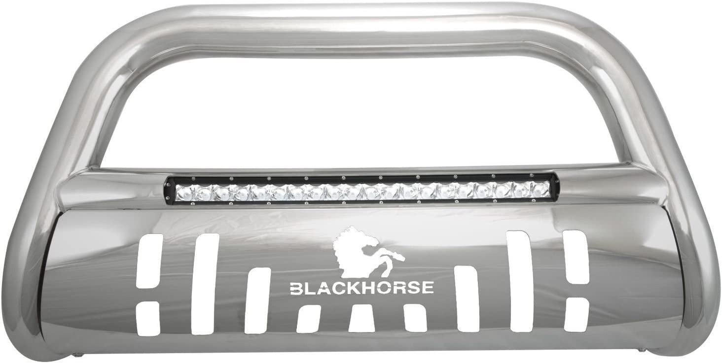 Black Horse Off Road BE-HORIS Stainless Skid Plate 1 piece Beacon Series Bumper Push Bar Beacon Bull Bar