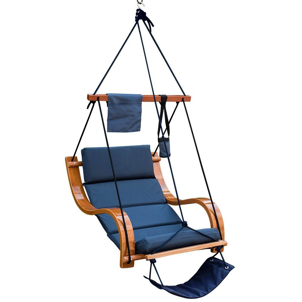LazyDaze Hammocks Patio Garden Outdoor Deluxe Hanging Hammock Lounger Chair with Cup Holder,Footrest&Hardware, Capacity 350 lbs (Navy Blue)
