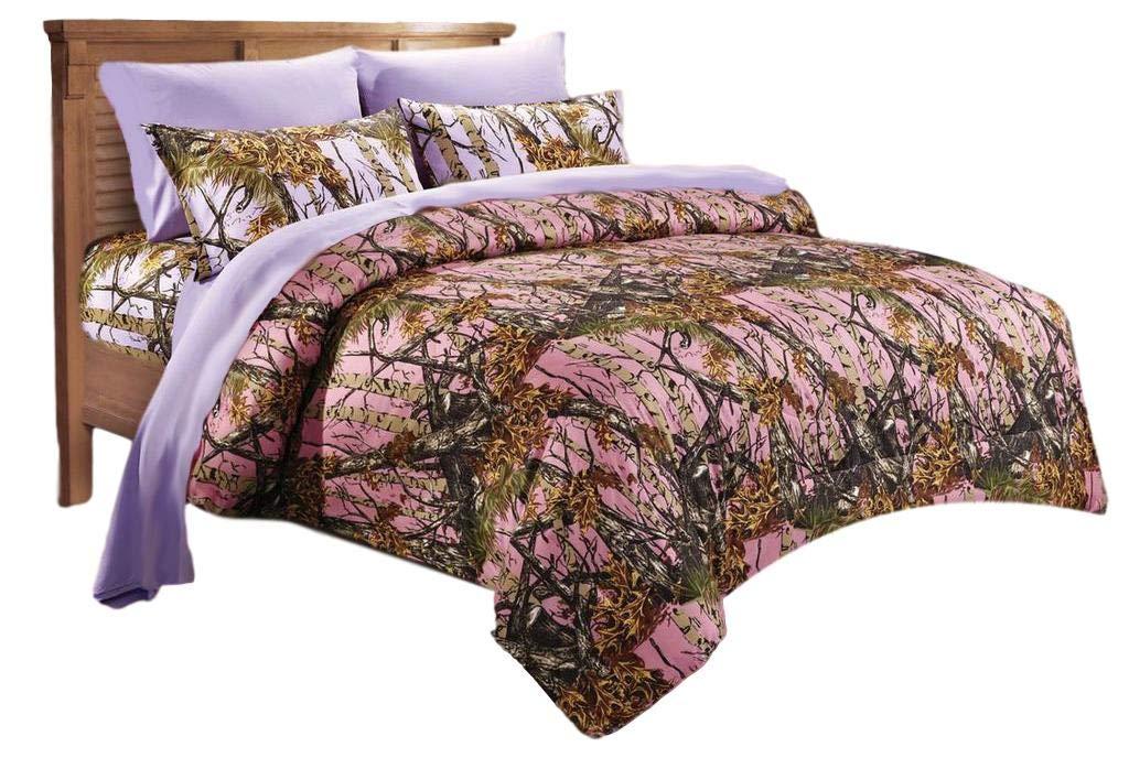 20 Lakes Woodland Hunter Camo Comforter, Sheet, Pillowcase Set (Twin, Pink & Purple)