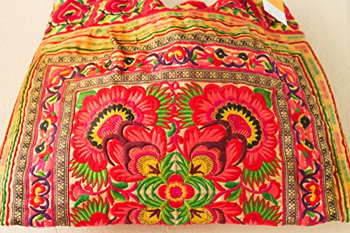 Tribes Bag Yellow Hmong Embroidered Unique Changnoi Flower Tote 2 Large Size Fabric Hill qgBCt