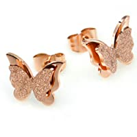 LnLyin Fashionable Female Earrings Rose Gold Matte Double Dutterfly Earrings