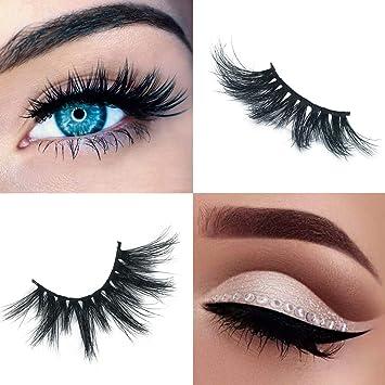 4d58fa9c93a Labeh False Eyelashes 3D Mink Fur Eyelashes Reusable Handmade Natural Lashes  Fake Eyelashes Easy to Apply