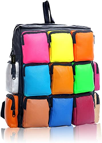 HEYFAIR Women's Colorful PU Leather Backpack Sudoku Multi Pack Travel Bag
