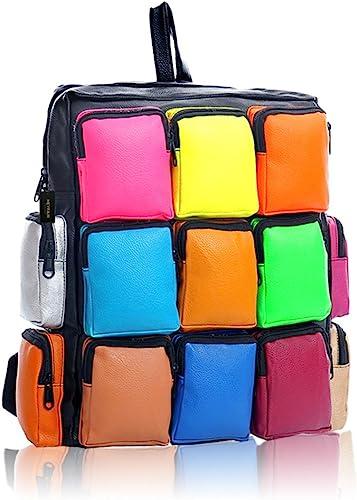 HEYFAIR Women s Colorful PU Leather Backpack Sudoku Multi Pack Travel Bag
