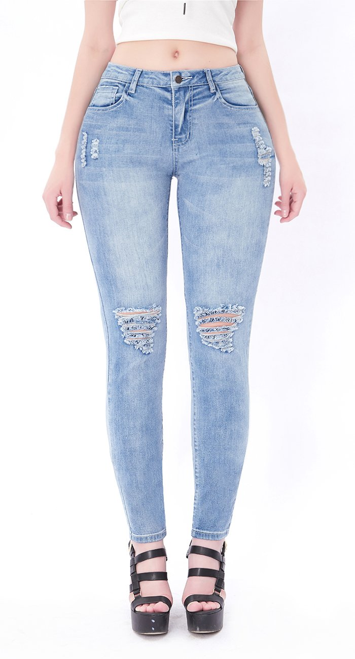 Womens Blue Distressed Ripped Skinny Stretch Jeans Butt Lift Super Comfy Denim Pants (Light Blue, 5)