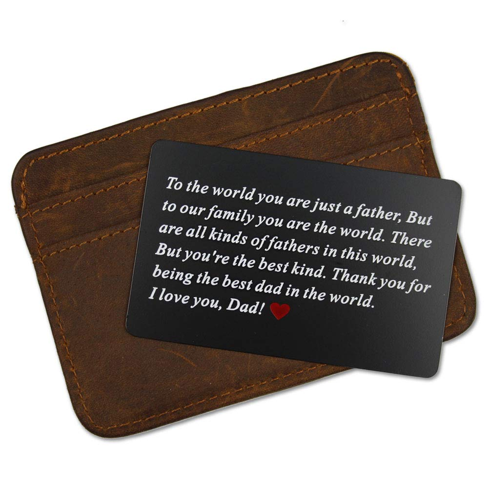 6520f4a15db50 Vanfeis Black Metal Engraved Wallet Insert Card Men Present - Funny Dad  Gifts for Fathers Day