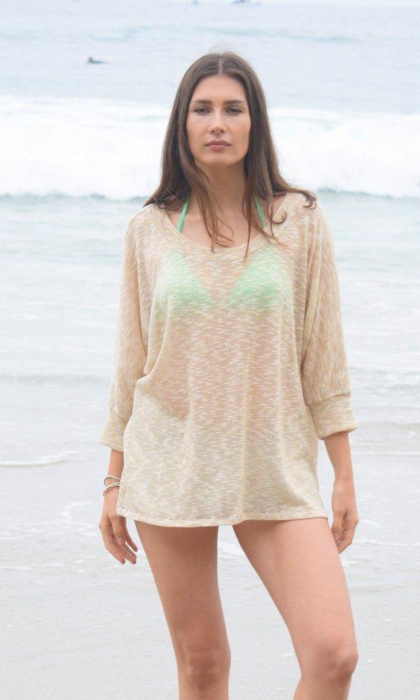 Beige Gold Boat Neck Kimono Sweater, Beach Sweater, Batwing Sweater, Gold Knit Top, Ocean Sweater, Sparkly Gold Thread Sweater. Size M-XL by Kimonology