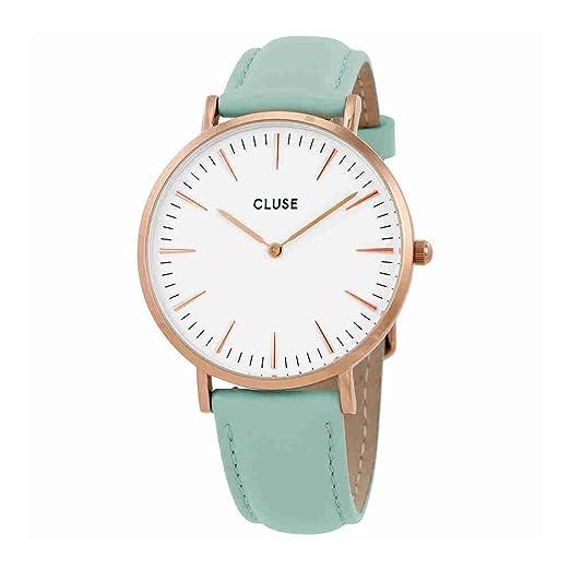 Cluse la Boheme esfera blanca Pastel menta cuero damas reloj CL18021: Amazon.es: Relojes