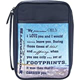Blue Footprints 7.8 x 10.8 inch Reinforced Polyester Bible Cover Case with Handle
