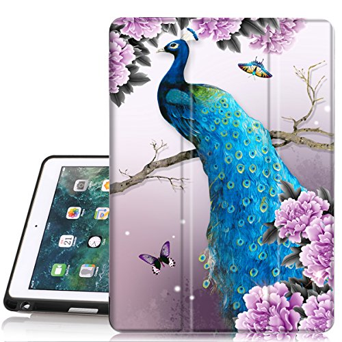 iPad 5th /6th Generation case with Pencil Holder,iPad Air 2/iPad Air Case,PIXIU Unique Protective Leather Folding Stand Folio Cover with Auto Wake/Sleep for New iPad 9.7 Inch 2018/2017 Peacock