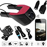 TechCode Dual Lens 1080P High Definition WiFi Car DVR Cam with Adjustable Lens 170 Degree Wide-angle, Car Driving Recorder with G-Sensor,Night Vision, Loop Recording, HDR, Parking Monitor (Two cameras-front and back)