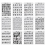 #6: YUEAON 12 pack letter and number stencils alphabet stencil for A5 bullet journal supplies scrapbooking painting drawing craft -5×7 inch